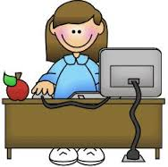 girl sitting on desk logo